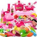 46 pcs rosa pretend play kitchen toys bebê fruta vegetal de cozinha para as crianças em miniatura cozinha toys faca de corte chaleira