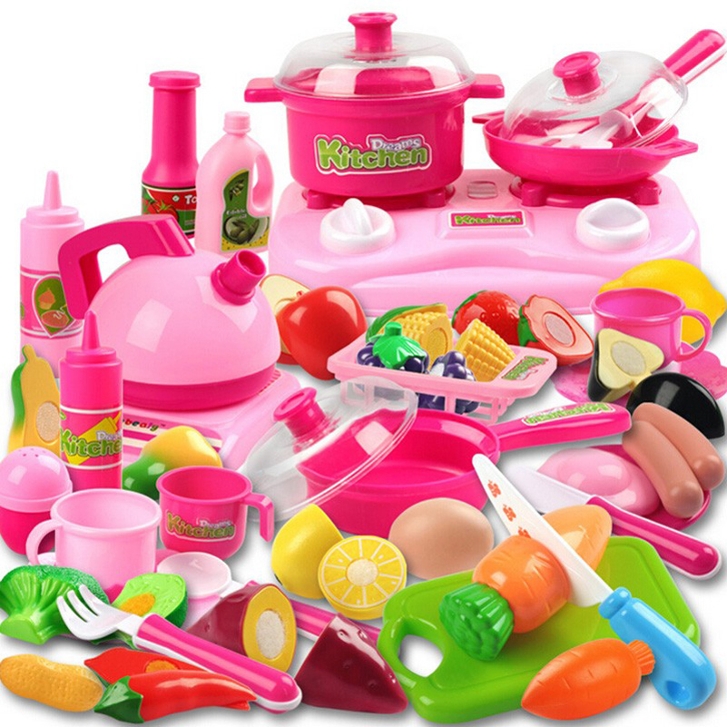 46pcs Pink Pretend Play Kitchen Toys Baby Kitchen For Children Miniature Food Fruit Vegetable Cooking Toys