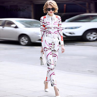 Truevoker Spring Designer Set Suit Women S High Quality Long Sleeve Bow Collar Abstract Printed Blouse
