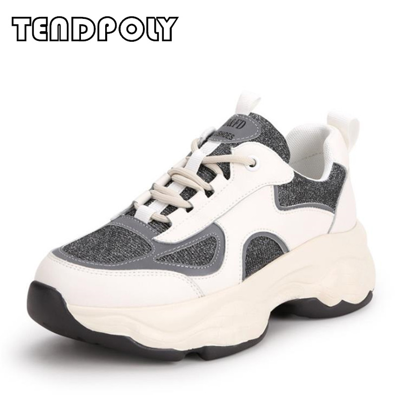 2019 New women shoes autumn genuine leather thick bottom sneakers women round head breathable Outdoor running