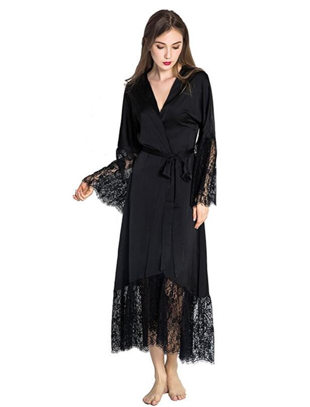 Summer Lace Patchwork Satin Kimono Robe Sexy Sleepwear Lingerie Chemises Women Silk Long Nightgown Wedding Bridesmaid Robes