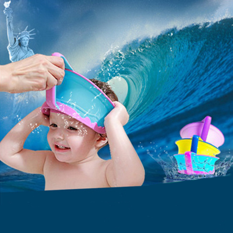 Kids Bath Tub Adjustable Hat New Silicone Baby Shower Cap Protect Shampoo Hair Wash Shield for Children Infant Waterproof Caps