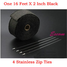 16 Feet * 2 Inch Black Exhaust Tape Motorcycle Exhaust Wrap Thermal Heat Wrap with 4 Zip Ties