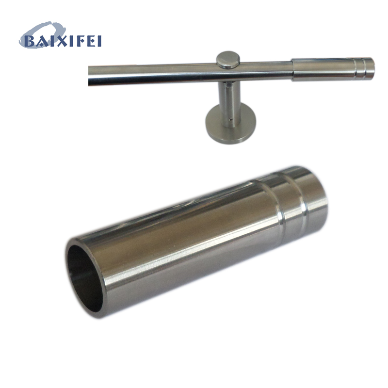 2 Pcs D16mm Curtain Rod Stainless Steel Decorative Head Double slot long sleeve