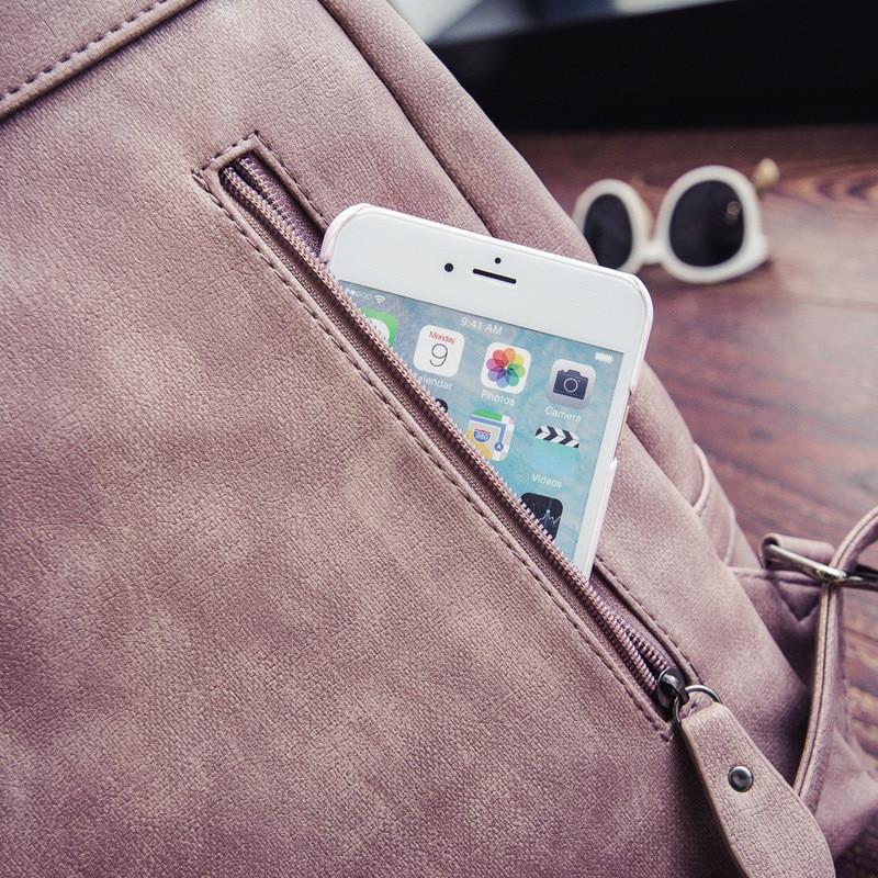 MJ Women Leather Backpack Female PU Leather Travel Bag Large Solid Color Travel Backpack Big School Bag for Teenage Girls (25)
