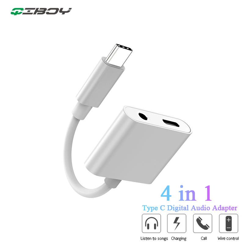 USB Type C To 3.5mm Earphone Jack Converter Digital Audio Charge Headphone Adapter For Huawei P30/P20pro Note 10 Xiaomi 9 8 Mix2