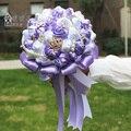 2017 Люкс Для Невесты Свадебный Букет Дешевые Новый Фиолетовый и Белый Ручной Работы Искусственный Свадебные Цветы Свадебные Букеты