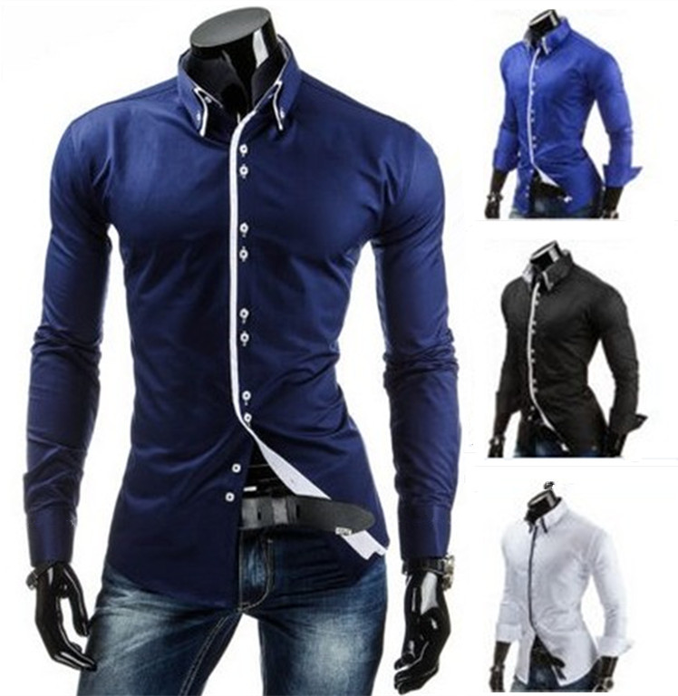 2a6310a5cf 2019 New Style Men S Casual Spliced Long Sleeved Shirt