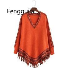 дешево!  Свитер женский пуловер с капюшоном Осень женская плащ шаль Европа Америка вязать кисточкой свитера