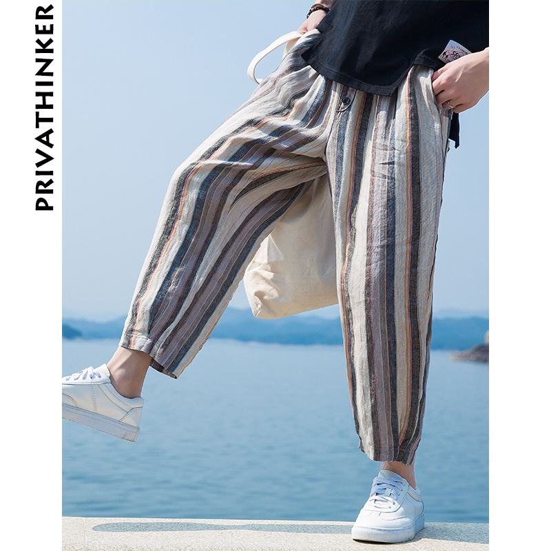 Privathinker 2018 Spring Summer Stripe Pants Men Casual Pants Male Korean Fashion Trousers Harajuku