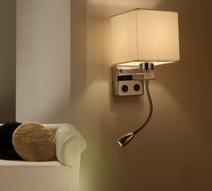 Modern brief bedside wall lamps 1w led reading light lamp ikea wall bed hose rocker arm Reading wall lighting fabric lampshade (4)