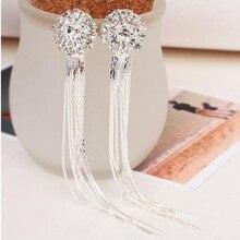 New Arrival Luxury Bridal Rhinestone Round Shape Tassel Clip on Earrings Non Piercing for Women Big Statement Pierced Earrings