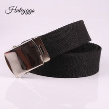 HATCYGGO Fashion Nylon Waist Belt Students Automatic Bets High Quality Casual Straps Canvas Striped Belts for Men & Women Jeans