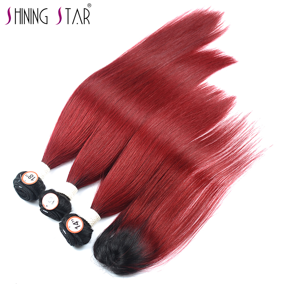 Shinigstar 1B 99J 3 Red Ombre Bundles With Closure Straight Burgundy Brazilian Ombre Bundle With Closure Human Hair Weave Noremy