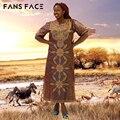 Африканские Традиционные платья для женщин Вышивка Ткани Высокого Качества Хлопка Базен Riche Платье Африке Макси Вечерние Платья Мантия