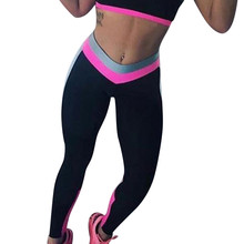 2018 Wholesale Women High Waist Sports Gym Yoga Running Fitness Leggings Pants Workout Clothes Patchwork Full Length Yoga Pants