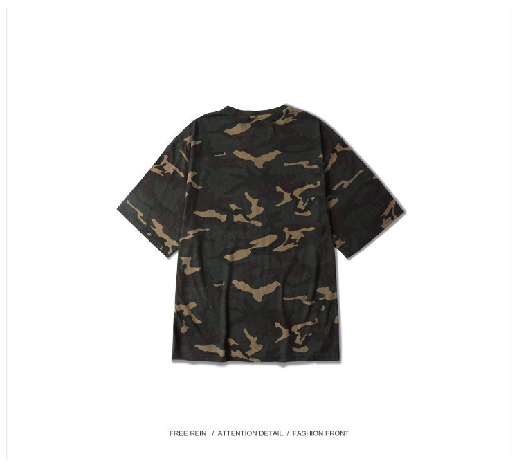 Camo T shirt Hip Hop tee 2016 Fashion Mens Military Camouflage Short Sleeved tshirt O-Neck Kanye West Tops Streetwear colothing (10)