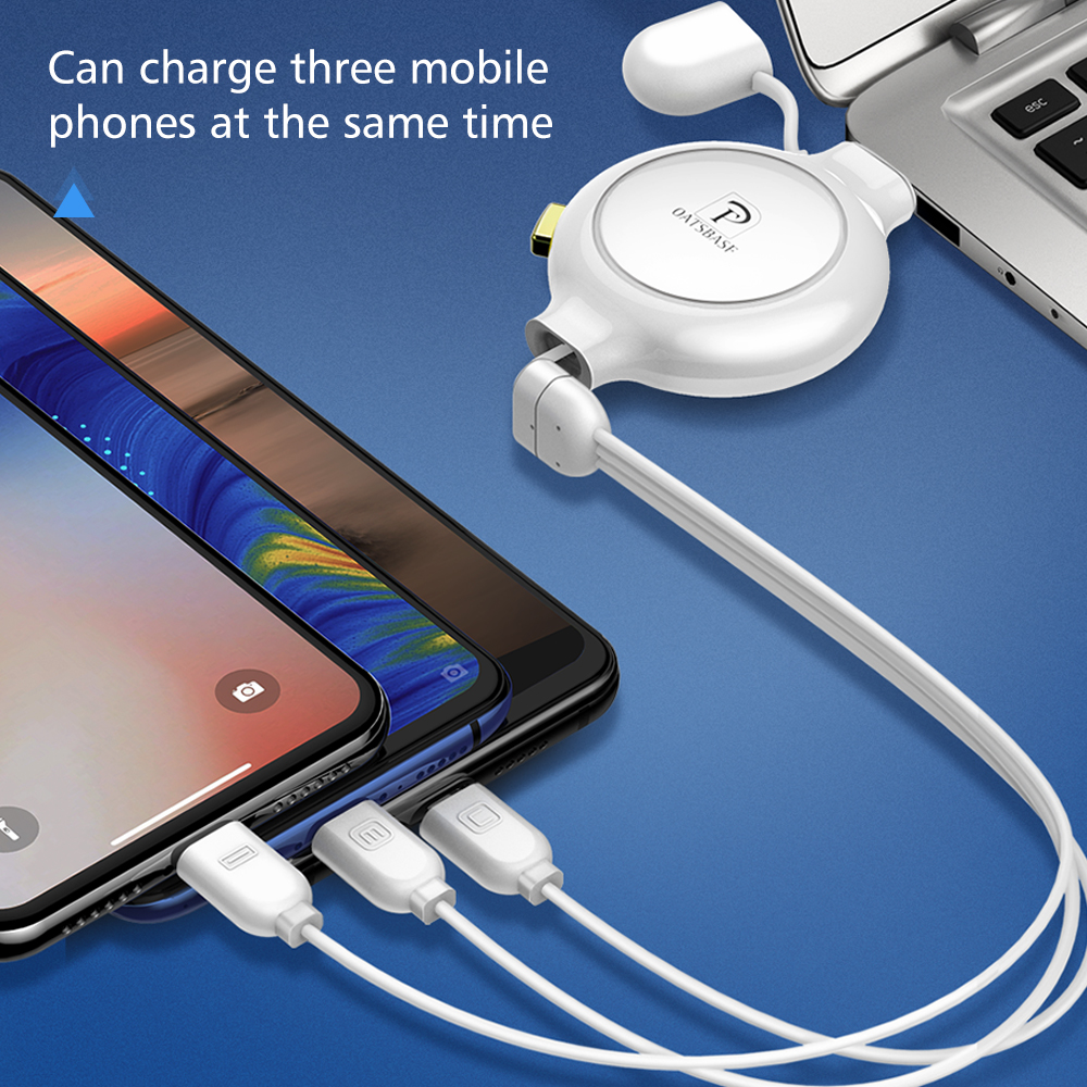 Oatsbasf 3 In 1 USB Type C Micro USB Cable for iPhone Charger Cable Retractable Fast Charging USB Cable in Mobile Phone Cables from Cellphones Telecommunications