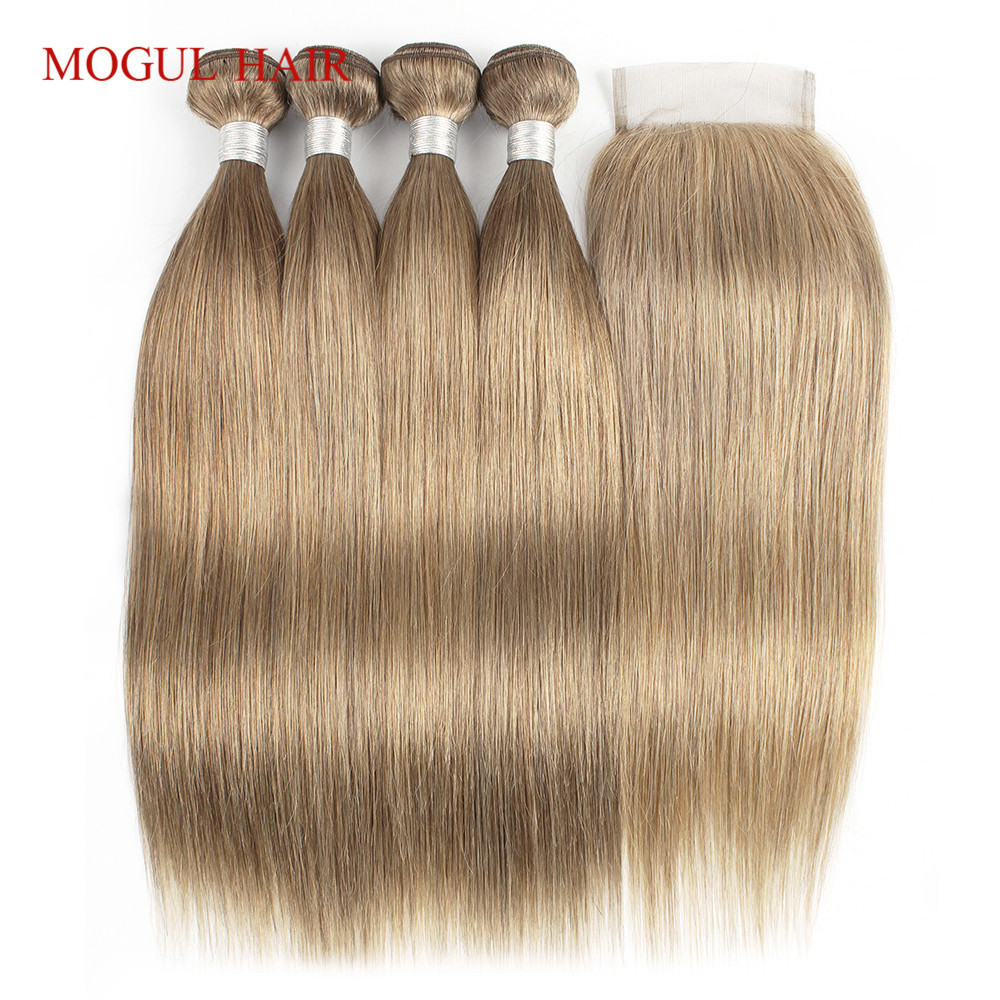 MOGUL HAIR Color 8 Ash Blonde 2 3 bundles with Closure Colored Indian Straight Hair Weave
