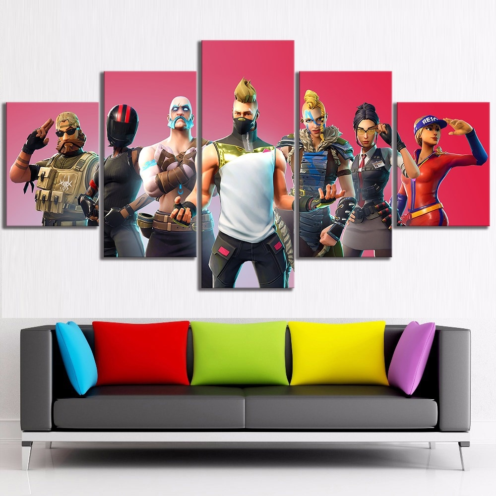 5PCS Fornite Poster Canvas Painting Fortnight Fortress Night Room Wall Decor