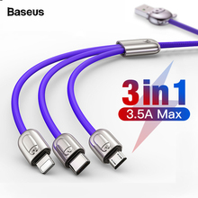 Baseus 3 in 1 USB Cable For iPhone Xs Max X Xr 8 Micro USB Cable For Mo