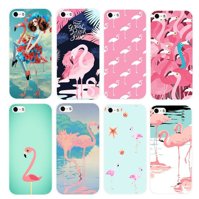 sale retailer ffa05 fd22f US $1.38 30% OFF Cute Flamingo Style White Sides Hard Plastic Back Cover  Case for iPhone SE 5 5S 5G High Quality Fashion Bird Animal Cases Shell-in  ...