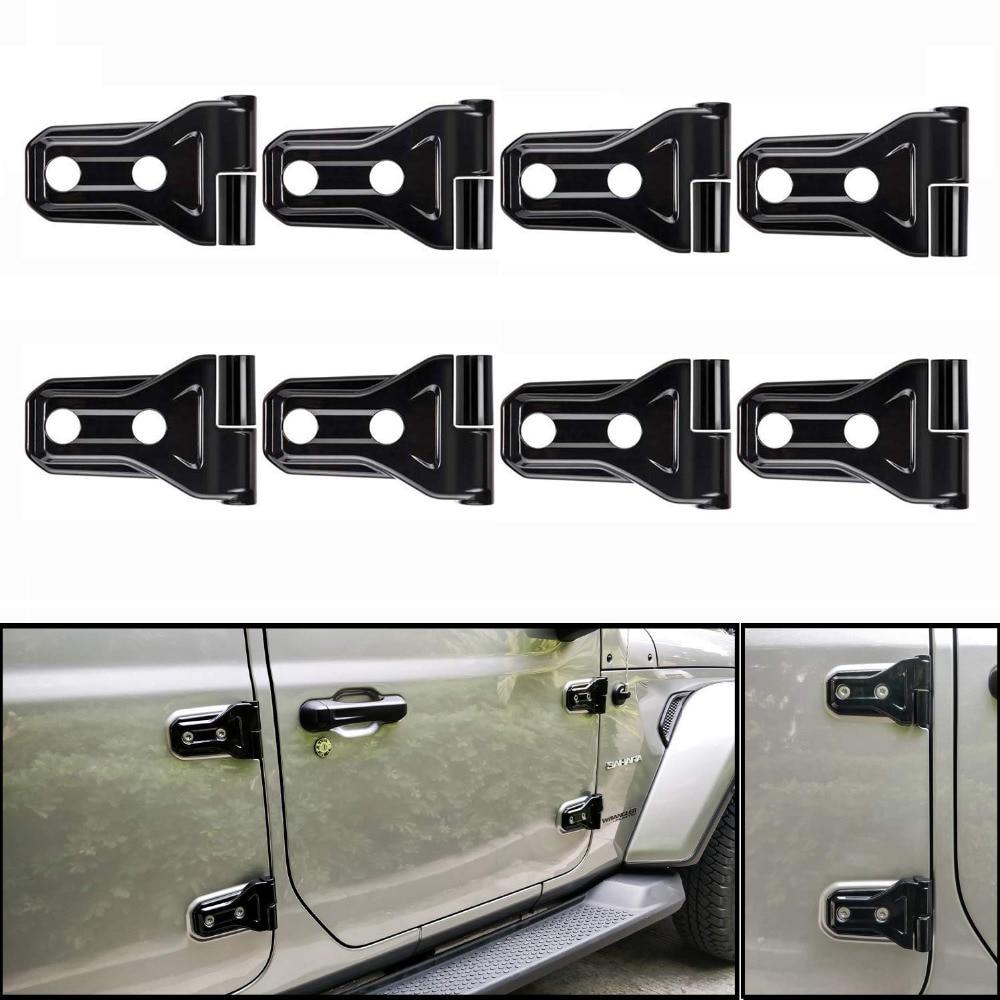 Chuang Qian 8 pièces noir ABS porte charnière couverture Protection accessoires pour le plus récent Jeep Wrangler 2018 JL 4-porte