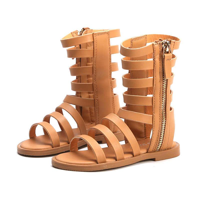 2019 летние новые открытые римские сандалии для девочек с открытым носком, высокие ботинки, нескользящая детская обувь