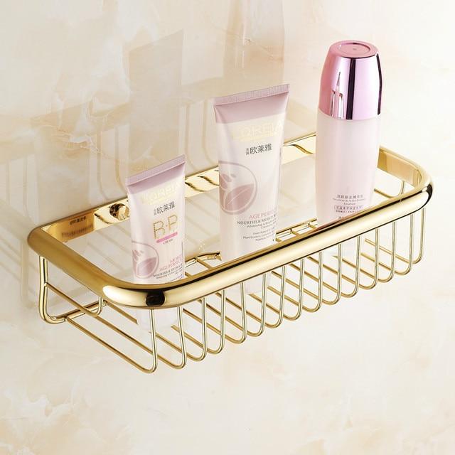 Contemporary Gold Wall Mounted Bathroom Soap Dish Bath Shower Shelf Bath Shampoo  Holder Basket Holder Bathroom