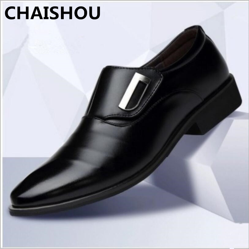 CHAISHOU2019 Spring Men Leather Oxford  Formal Shoes Pointed Toe Business Lace Up Shoes Black Brown  Plus Size 38-47 F-257