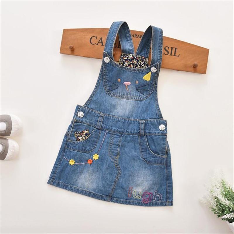 High Quality Spring Summer Girls Cartoon Cat Denim Sundress Cowboy Dress Kids Clothes Autumn Sleeveless Jeans Dress 1-6T цены