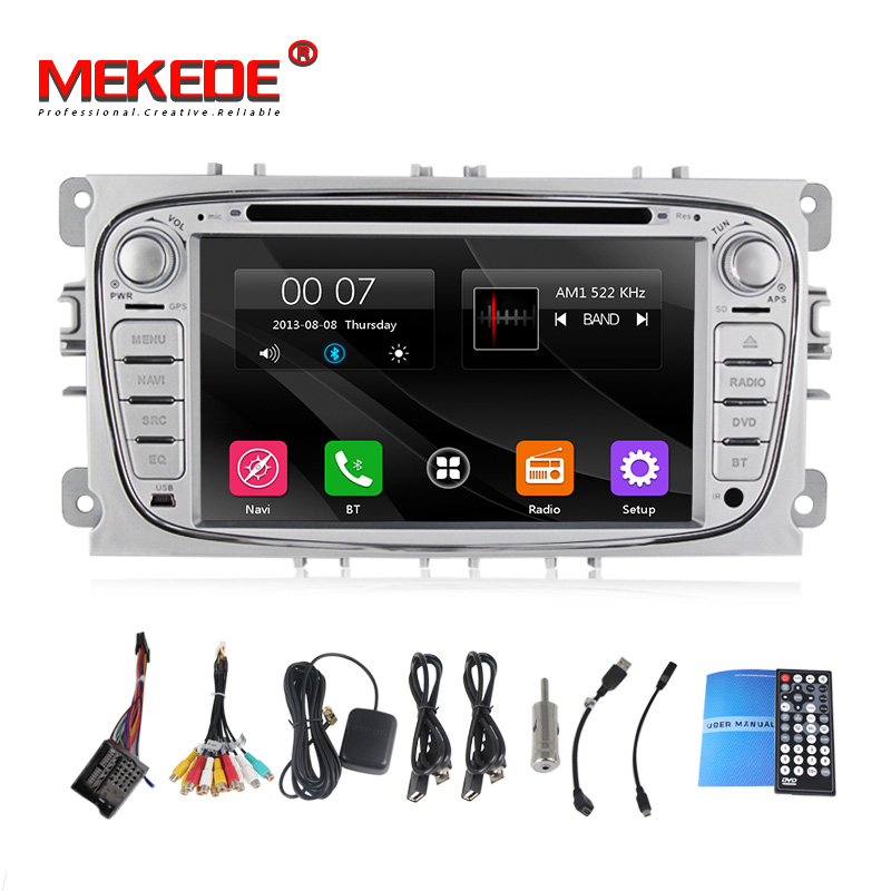 Silver 2 Din 7 Inch Car DVD Player For FOCUS 2/MONDEO/S MAX 2008 2011 With WIFI 3G Host GPS 1080P BT IPOD TV FM Free Map