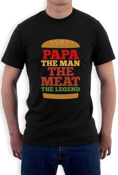 Round Neck Teenage Pop Top Tee The Man The Meat The Legend - Gift for Dad Funny T-Shirt Burger Lovers
