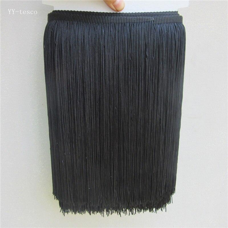 1 ярд/партия, 25 см длинная полиэфирная кружевная бахрома с кисточками, Черная кружевная отделка, лента для шитья, латинское платье, сценическ...