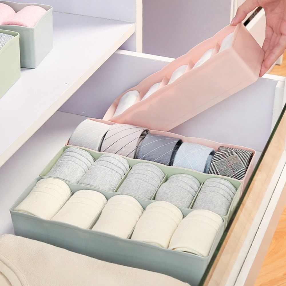 Prático Recipiente Caixa De Armazenamento De Gaveta Closet Divisor Lidded Caixas Para Meias Ties Bra Underwear Armazenamento Organizer Dropshipping