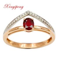 Xin yi peng 18 k rose gold and white gold natural pigeons red ruby ring fashion woman a diamond ring anniversary gift