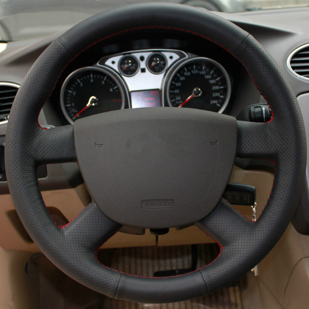 Diy genuine leather car steering wheel cover for ford focus special hand stitched leather car