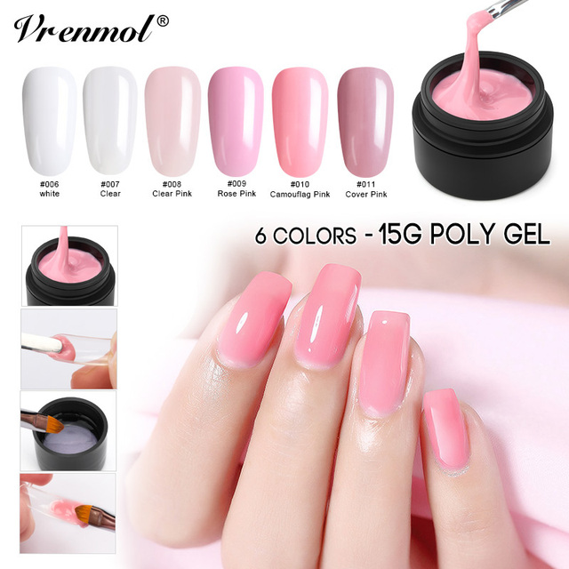 Vrenmol Poly Gel Nail Quick Building Transpa Clear Camouflage Color Fibre Gl Hard Jelly Finger