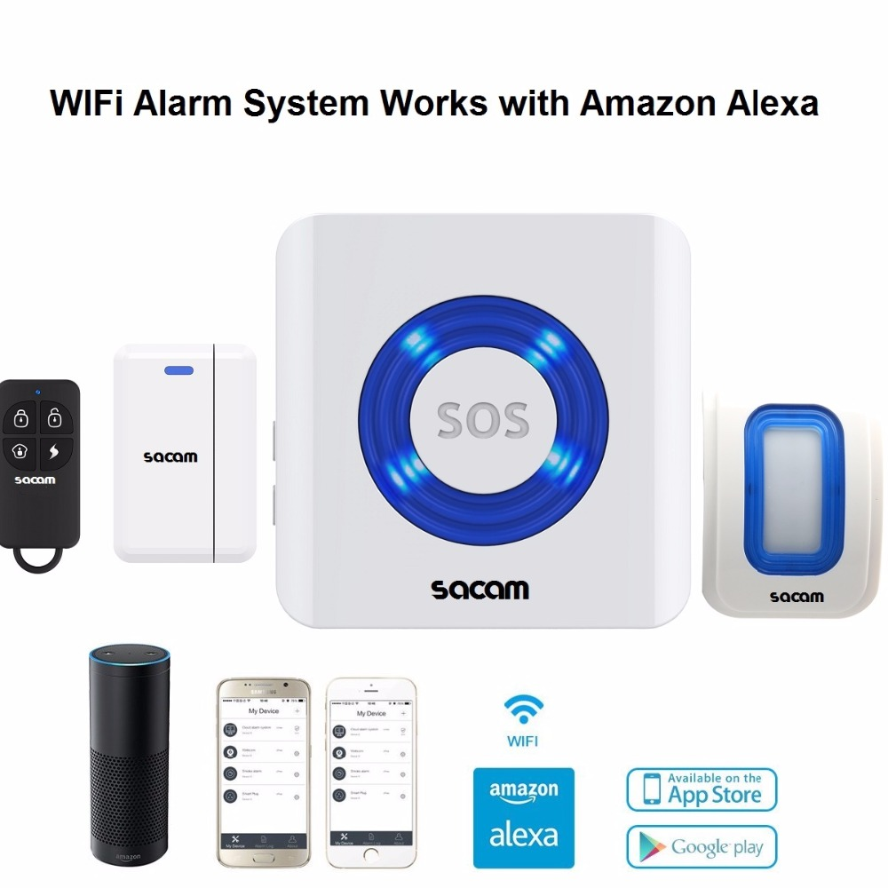 home security alarm system wifi remote control alexa. Black Bedroom Furniture Sets. Home Design Ideas