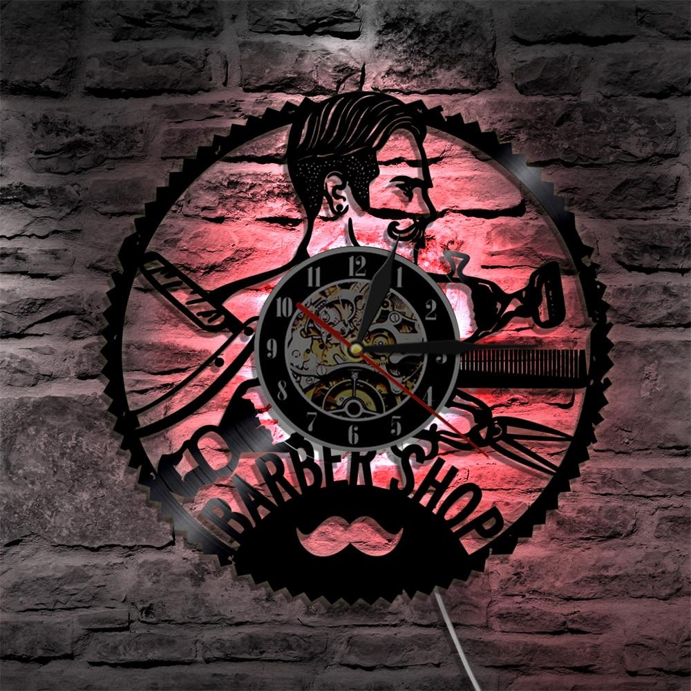 1 Stuk Kapper Kapper Led Opknoping Lamp Vinyl Record Wandklok Grooming Schoonheidssalon Snor Decoratieve Verlichting