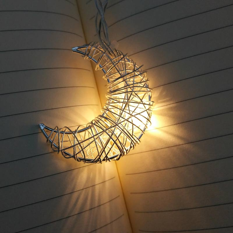 LED String Light 10 LED Moon Shape Lamp Room Garden Yard Festival Christmas Iron Wire Decoration CLH@8