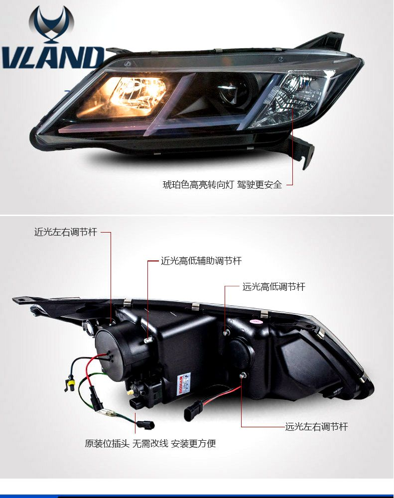 Free shipping vland factory car accrssories  for  Honda City led headlight  plane design plug and play  front light free shipping vland factory car parts for camry led taillight 2006 2007 2008 2011 plug and play car led taill lights