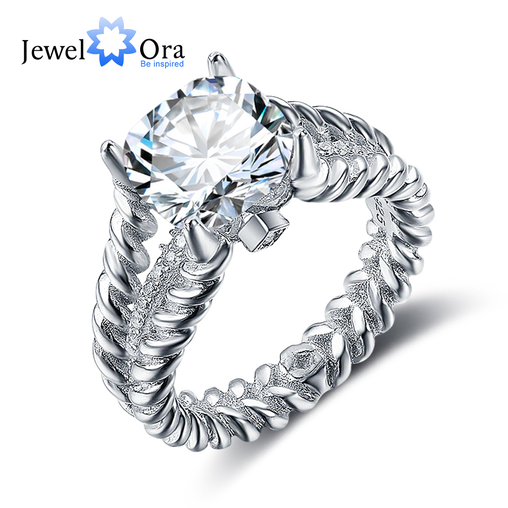 925-Sterling-Silver Rings Engagement Jewelry Hearts Cubic-Zirconia Women 10mm for