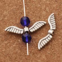 Angel Wing Charm Beads 26x7mm 40PCS Antique Silver Spacers Jewelry Findings L076