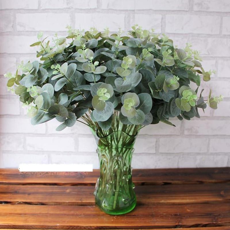 2 bouquet/lot 50cm artificial eucalyptus leaf green plant branches