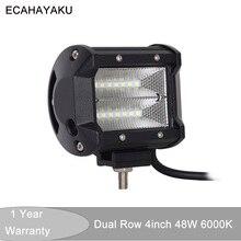 ECAHAYAKU 1x 48W 4 inch Led Work Lights Flood lamp led bar DRL 12V 24V for Off-road Lada Niva Uaz Tractor Audi Mazda Jeep Truck