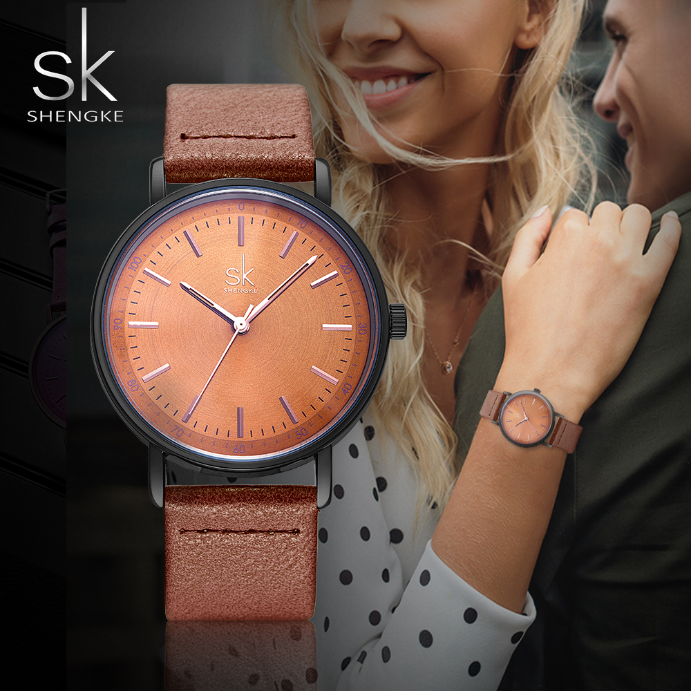 SHENGKE Women Watches Waterproof Simple Design Colorful Leather Strap Gift For Girlfriend Quartz  Japanese Movement Bayan Saat
