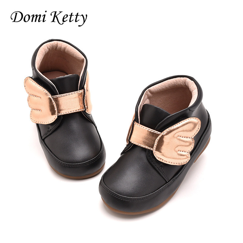 Domi Ketty 2017 children's shoes for girls princess snow boots cute wing leather shoes baby ankle boots winter kids toddler shoe