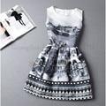 Estilo De moda De verão borboleta impressão mulheres vestido De Festa noite elegante do Vintage vestido branco De verão Vestidos De Festa Robe