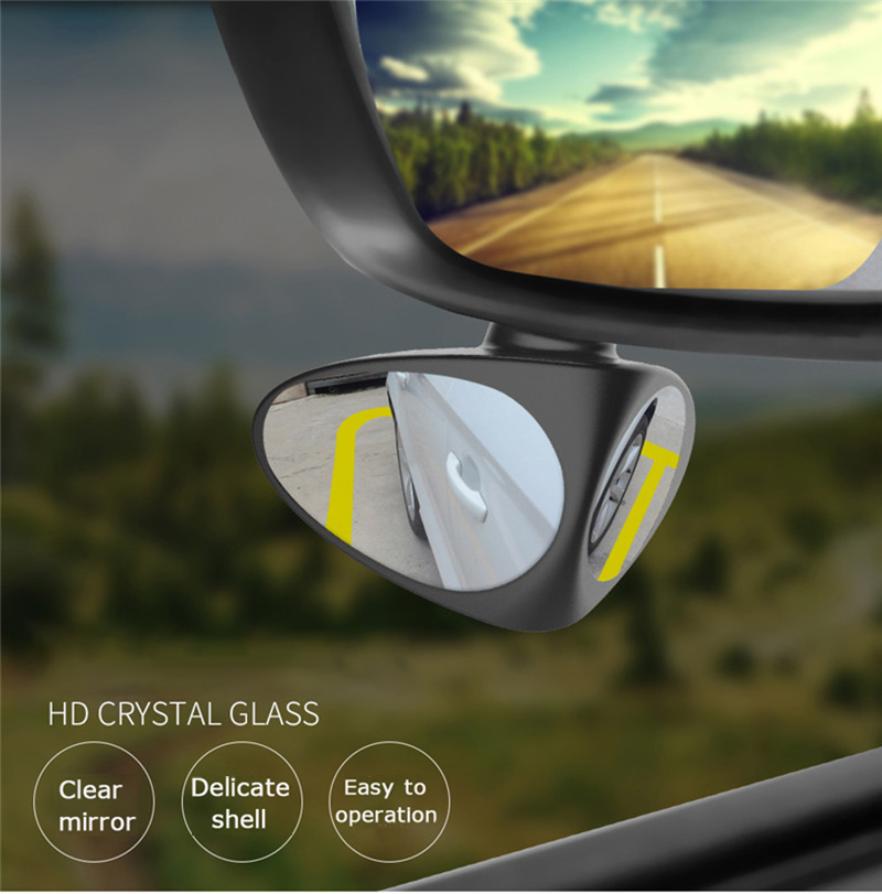 360 Rotation Adjustable Convex Rear View Mirror View 2 in 1 Car Blind Spot Mirror Wide Angle Mirror front wheel Car mirror(China)